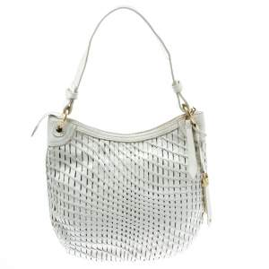 Cole Haan White Genevieve Open Weave Hobo