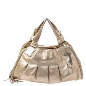 Cole Haan Metallic Gold Pebbled Leather Hobo