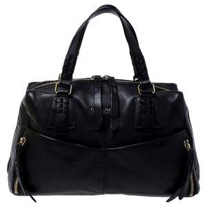 Cole Haan Black Leather Front Pocket Satchel