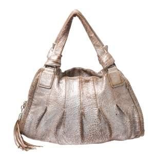 Cole Haan Metallic Beige Pleated Leather Tassel Hobo