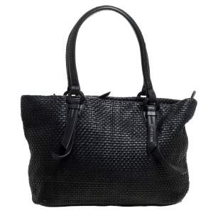 Cole Haan Black Woven Leather Medium Bethany Tote