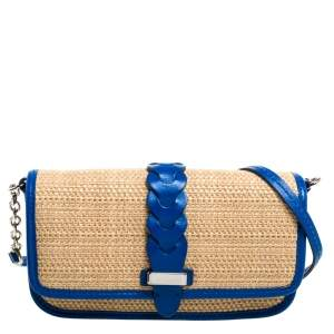 Cole Haan Beige/Blue Woven Straw,Fabric and Leather Bedford Crossbody Bag