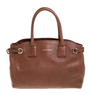 Cole Haan Brown Python Embossed Leather Satchel