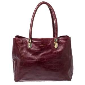 Cole Haan Burgundy Croc Embossed Leather Tote