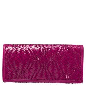 Cole Haan Fuchsia Woven Leather Flap Clutch