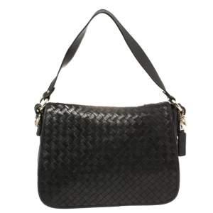 Cole Haan Black Woven Leather Flap Shoulder Bag