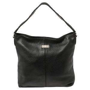 Cole Haan Black Grained Leather Hobo