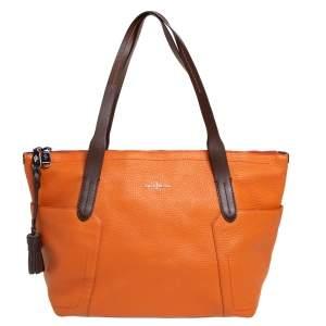 Cole Haan Orange/Brown Leather Parker Top Zip Shopper Tote