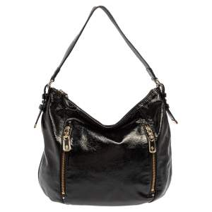 Cole Haan Black Textured Patent Leather  Hobo