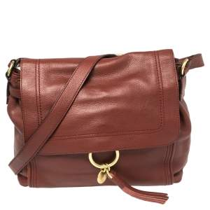 Cole Haan Brown Pebbled Leather Flap Tassel Shoulder Bag