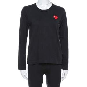 Comme des Garçons Play Black Cotton Jersey Long Sleeve T-Shirt M