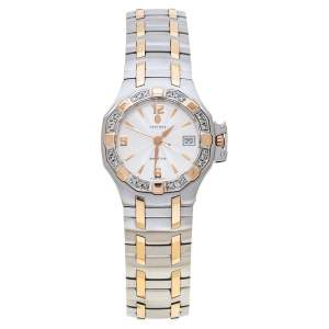 Concord Silver White 18K Rose Gold Stainless Steel Diamond Saratoga 24.E1.1855 Women's Wristwatch 28 mm