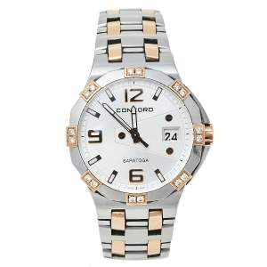 Concord Silver 18K Rose Gold & Stainless Steel Diamond Saratoga 02.3.15.1010 S Women's Wristwatch 35.50 mm