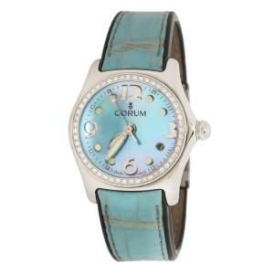 ساعة يد نسائية كورم متوسطة الحجم 39.151.47 فقاعة جلد ستانس ستيل صدف زرقاء 35 مم