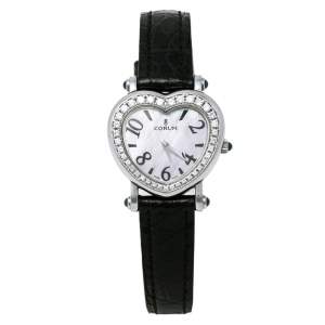 Corum Mother of Pearl Stainless Steel Diamonds Heart Beat 24.183.47 Women's Wristwatch 29.50 mm