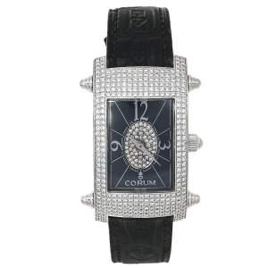 Corum Black 18K White Gold Diamond Pave Moonlight 38.121.69 Women's Wristwatch 25 mm