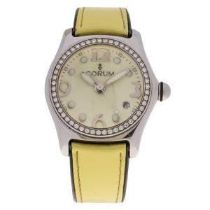 Corum Yellow Stainless Steel Diamond Bubble Women's Wristwatch 34MM