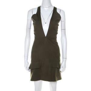 Cushnie Et Ochs Safari Green Stretch Cotton Keyhole Detail Mini Dress XS