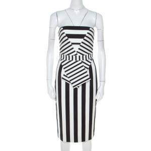 Cushnie Et Ochs Black and White Striped Neoprene Strapless Dress XS