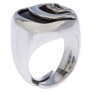 Damiani Damianissima Onyx Diamond Silver Ring Size 53