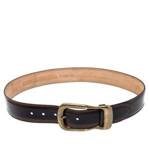 D & G Black/Brown Leather Buckle Belt 85CM