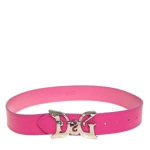 D&G Pink Leather Logo Buckle Belt 80 CM
