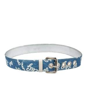 D&G Blue Denim Logo Print Buckle Belt 100CM