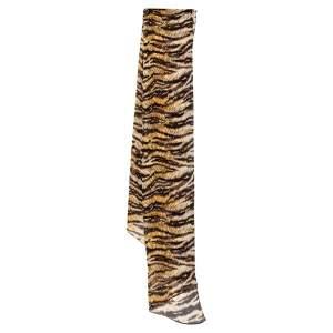 D&G Brown Animal Print Asymmetric Silk Stole