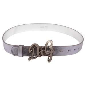 D&G Lilac/Silver Leather Logo Belt 80CM