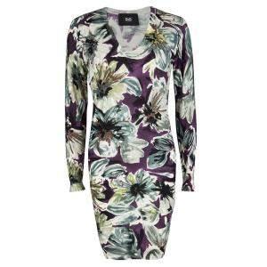 D&G Multicolor Floral Printed Wool V-Neck Sweater Dress S
