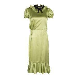 D&G Green Satin Ruffle Trim Tie Detail Midi Dress S