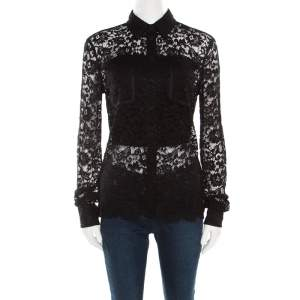 D&G Black Floral Lace Long Sleeve Button Front Scalloped Bottom Shirt S
