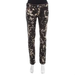 D & G Black Splatter Print Distressed Denim Cute Skinny Jeans S