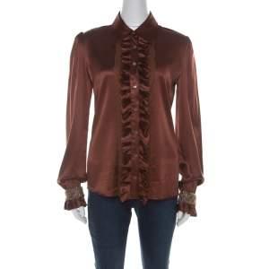 D&G Brown Silk Ruffle and Tweed Trim Detail Blouse M