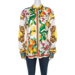 D&G Multicolor Abstract Tropical and Baroque Printed Silk Button Front Shirt M