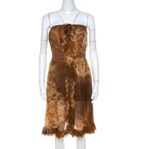 D&G Brown Batik Printed Silk Chiffon Strapless Cocktail Dress M