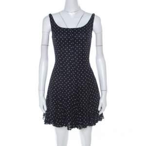 D&G Navy Blue and White Printed Crepe Sleeveless Skater Dress S
