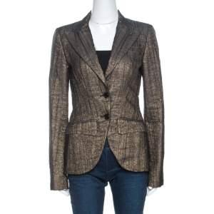 D&G Gold Chiffon Overlay Tailored Blazer M