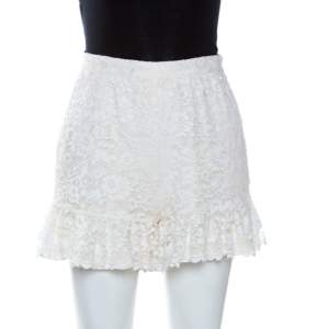 D&G Cream Lace Frill Detail Shorts XS