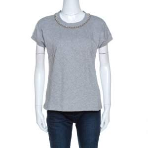 D&G Grey Quilted Cotton Knit Chain Detail Top M