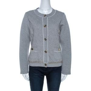 D&G Grey Quilted Cotton Knit Chain Detail Jacket M