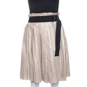 D&G Gold Linen Pleated Wrap Skirt S