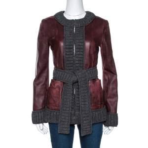 D & G Burgundy Lamb Leather Rib Knit Trim Jacket M
