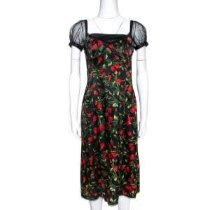 D&G Black Floral Print Stretch Satin Tulle Sleeve Corset Dress M