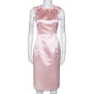 D&G Light Pink Satin Sleeveless Sheath Dress M