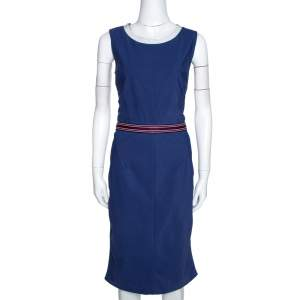 D&G Blue Synthetic Grosgrain Trim Detail Midi Dress L