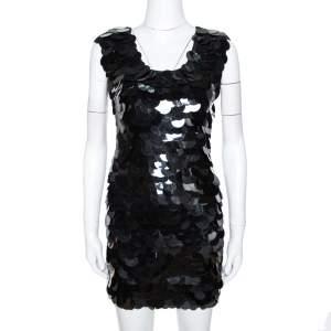 D&G Black Oversized Sequin Embellished Wool Sleeveless Dress XS