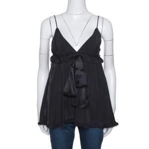 D&G Black Silk Ruffled Tie Detail Sleeveless Top S