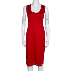 D&G Red Stretch Cotton Sleeveless Midi Dress XL