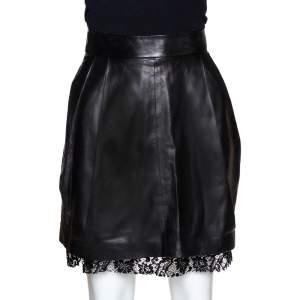 D&G Black Lamb Leather Lace Trim A Line Skirt S